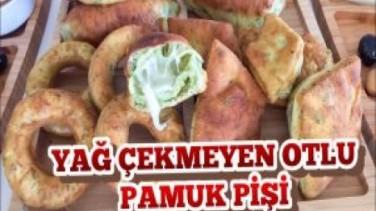 Yağ Çekmeyen Otlu Pamuk Pişi ( içinden akan kaşarları gördünüz mü?)