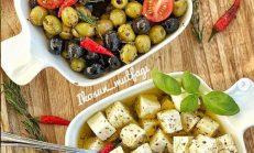 Kahvaltılık soslu zeytin ve Beyaz Peynir